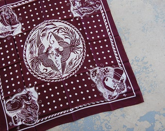 Clearance Sale vintage 70s silk scarf - Burgundy Asian Phoenix Print Scarf - 1970s China Chinese Souvenir Scarf