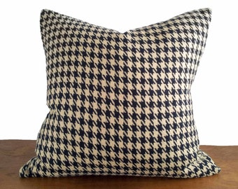 Tan Black Houndstooth Pillow Cover, Camel Black Plaid Pillow, Textured Pillows, Mens Throw Pillows, Masculine Fall Home Decor, 20x20, NEW