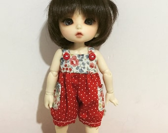 Red Flora and dots dots pattern cutie overall for Lati Yellow or Pukifee