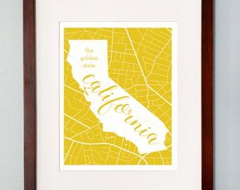 California State Map Print - 8x10 Wall Art - California State Nickname - Typography - Housewarming Gift