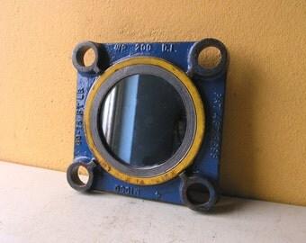 Blue Metal Wall Mirror, Industrial Salvage, Upcycled  Hanging Mirror, Restaurant Decor, Boyfriend Gfit, Industrial Hall Mirror, Nautical