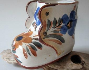 Porcelain Art Pottery Shoe Boot Planter Vase Occupied Japan Hand Painted Floral Figurine