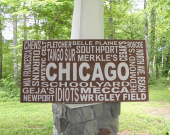 Chicago Subway Art Sign, Chicago sign, Custom and personalized subway art sign, Typography sign