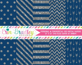 Silver Glitter Digital Paper Pack with Blue Commercial Use Digital Scrapbook Papers Polka Dots Stripes Chevron and Arrows