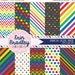 60% OFF SALE Rainbow Digital Paper Pack Rainbow Patterns Digital Scrapbook Papers Polka Dots Chevron Stripes Instant Download