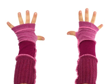 Kids Arm Warmers in Fuchsia Magenta Pink - Segmented Sleeves - Recycled Sweaters