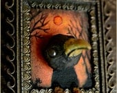 Crow at Sunset in brass frame - Raven - bird - OOAK mixed media artwork sculpture painting