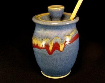 Honey Jar - Blue HoneyJar - Honey Dispenser - Jar Honey - Ceramic Honey Jar - Pottery Honey Jar - Blue Honey Pot - HoneyPot -InStock