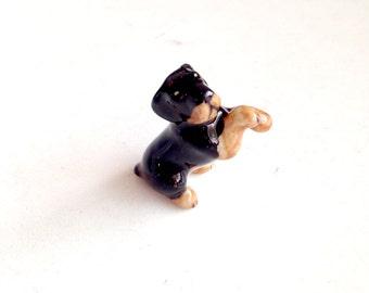 Dog figure, Rottweiler, Black Brown Ceramic Dog Figure, ceramic figure, animal figure, dog figurine, animal figurine, decoration, decor