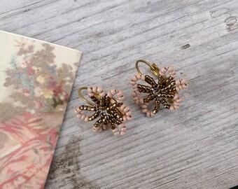 ROSE et OR handmade in France little bouquets beaded earrings