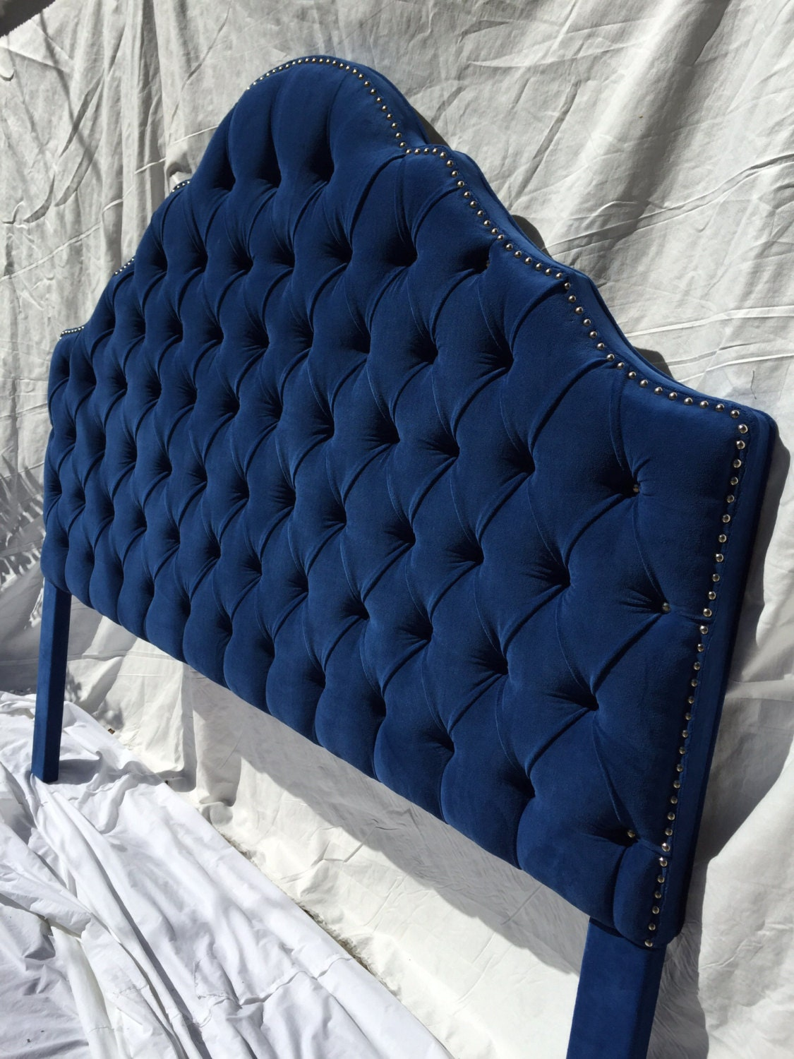 Royal Blue Extra Tall King Size Tufted Headboard With A Row Of