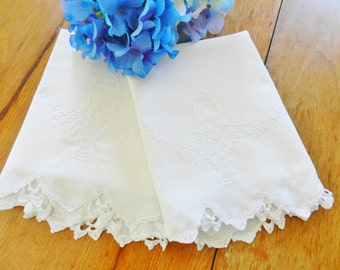 White Embroidered Pillowcases, White Crocheted Trim Pillowcases, Vintage Pillowcases,
