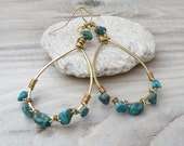 RESERVED - Brass and Turquoise Hoop Earrings, Large, Lightweight, Teardrop Hoops
