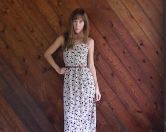 30% off ... Red Tea Rose Floral DITSY Print Sleeveless Maxi Dress - Vintage 90s - XXS XS