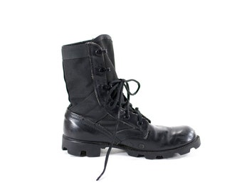 Vintage 90s Military Boots Black Leather Combat Boots Mens Size 11