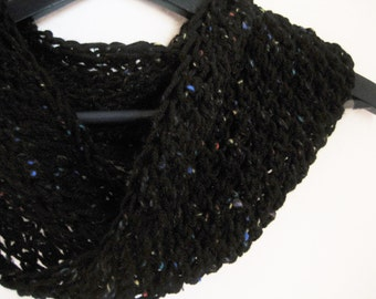 Infinity cowl, black tweet, rich, round, soft ,hand knit, ready to mail