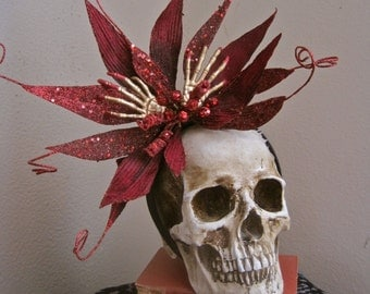 From the Grave: Gothic Headpiece Golden Skeleton Bloody Hands Wine Red Burgundy Wicked Flower Twisted Edgy Goth Halloween Day of the Dead