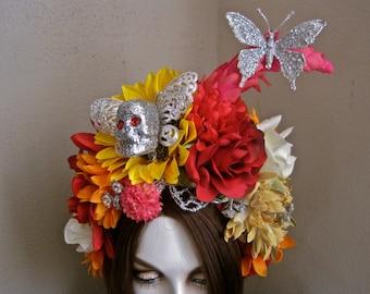 Ode to Frida: Headpiece Flowers Skull Headband Kahlo Headdress Butterfly Silver Rhinestones Glitter Butterflies Red Roses Yellow Orange