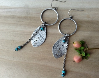 turquoise and sterling silver earrings, textured, dangle earrings, metalsmithed, December birthstone, READY TO SHIP