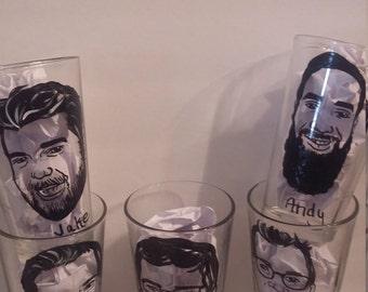 5pc, toasting glass, Caricature glasses, Pint glasses, Pint Glass, Groomsmen Gift, Wedding favors, groomsmen caricature, Custom beer mug