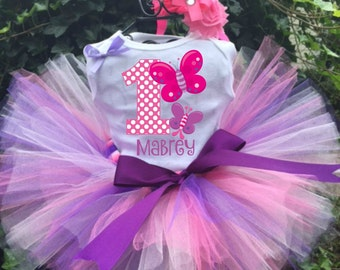 Personalized Butterfly Birthday Three Piece Tutu Set - Butterfly Birthday Tutu Outfit
