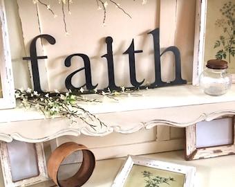 Metal Word Art Sign - Faith