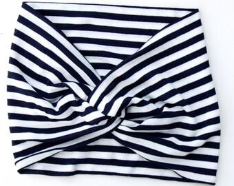 Sailor's Stripe Soft Headband Adult Women Headband Twist Headband Beach Accessories Summer Fashion Retro Hair Scarf Spring Fashion Turban