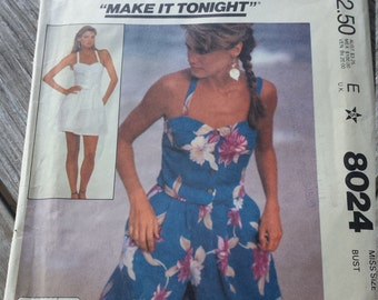 McCalls 8024 Camisole Top, Skirt and Culottes Sewing Pattern - UNCUT size 6-8-10 Uncut