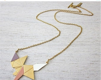 Sale 20% OFF Origami Fox Necklace in Gold, woodland enamel pendant
