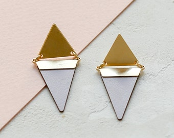 Village Earrings, Triangle Earrings, Gold Earrings, Laminate, Colorful, Post Earrings, Tribal Inspired, Minimalist Earrings, Gold Plated