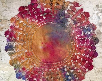Hand Dyed Vintage Crochet Doily for Embroidery, Quilting and Needlecraft