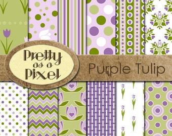 Digital Paper Pack - Purple Tulips - INSTANT DOWNLOAD - Scrapbooking Backgrounds - 12 x 12 - Set of 12