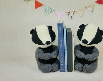 Badger Bookends. Set of two. Wool, Handmade, Display, Decor.