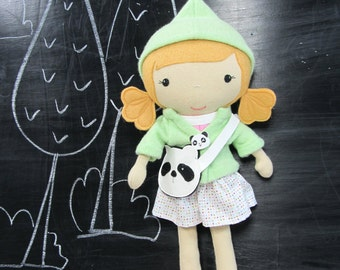 "Handcrafted STUDIO DOLL 15"" - Girl in the Hood. Handmade, Doll, Girl, Toy, Plush, Children, Gift, Panda"