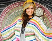 Striped Crochet Bohemian Dreamer Sweater Jacket One Size Hippie Boho Festival Style Gypsy Clothing