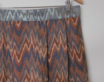 WINTER SALE...chevron stripes...cotton sateen tulip shaped skirt with high waist and side seam pockets