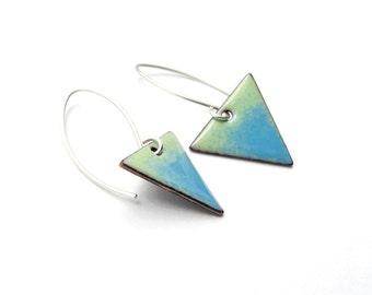 Triangle Earrings - Blue Green Earrings - Blue Green Triangle Earrings - Arrow Earrings - Geometric Earrings - Geometric Jewelry