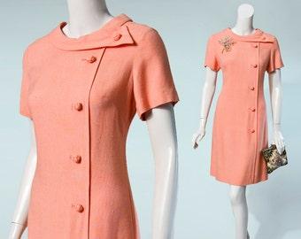 60s Wilshire peach shift dress, small-medium
