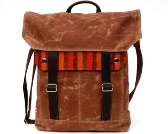 Waxed Canvas Messenger Bag / Rust Carnival Stripe Reclaimed Wool with Oiled Leather