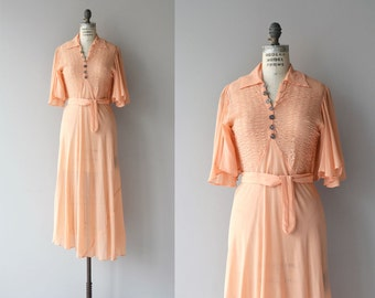Aprikose silk dress | vintage 1930s dress | silk chiffon 30s dress