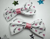 Revolvers and Hearts Hair Bow (left side clip)