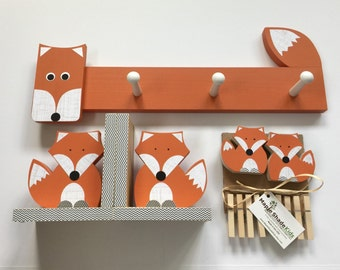Fox Nursery Set, Fox Kids Decor Set, Woodland Nursery, Woodland Kids Decor, Fox Nursery, Forest Themed Nursery, eco friendly