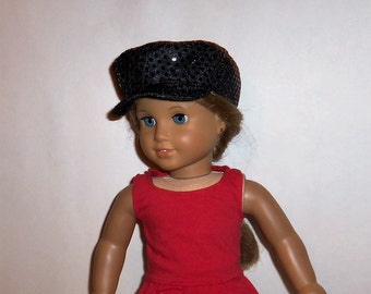 18 Inch Doll, Sequin Hat, Black Newsboy, Biker Cap, 15 Inch Doll, Accessories, American Made, Girl Doll Clothes