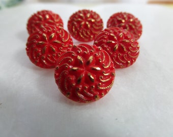 6 Vintage Red Glass Buttons Gold Accent