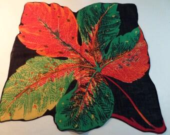 Vintage Hankie Single Leaf Hankie Vivid Color