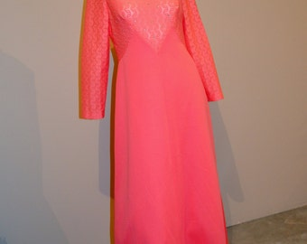 Vintage Dress Coral with Rhinestones 1970's