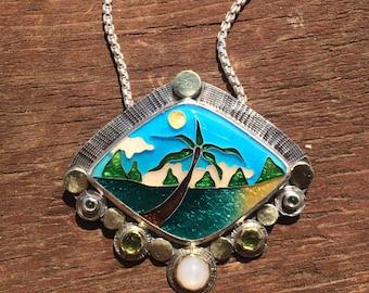 Cloisonne enamel necklace, tropical beach scene necklace, cloisonne enamel jewelry