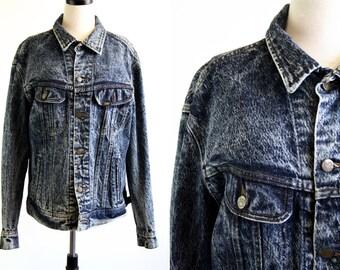 Vintage 80's Stone Wash Unisex Denim Oversize Jean Jacket
