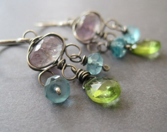 Moss Amethyst Chandelier Earring, Green Peridot, Aqua Apatite Earrings