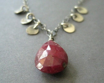 Gemstone Statement Necklace, Ruby July Birthstone, Red Pendant, Silver Disc, Bohemian Necklace